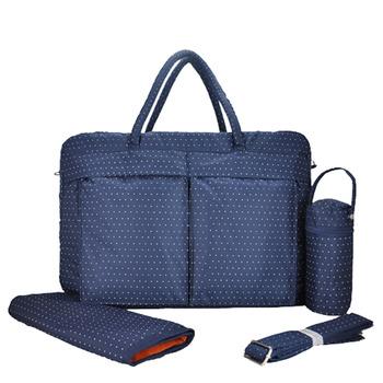 【YABIN】時尚小波點超大容量媽媽包爸爸包(藍色)