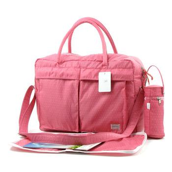 【YABIN】時尚小波點超大容量媽媽包爸爸包(粉色)
