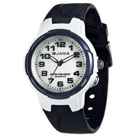 JAGA 捷卡 AQ68A-E 色彩繽紛夜光防水指針錶-藍/47mm