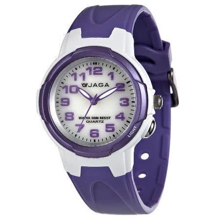 JAGA 捷卡 AQ68A-DJ 色彩繽紛夜光防水指針錶-白紫/47mm