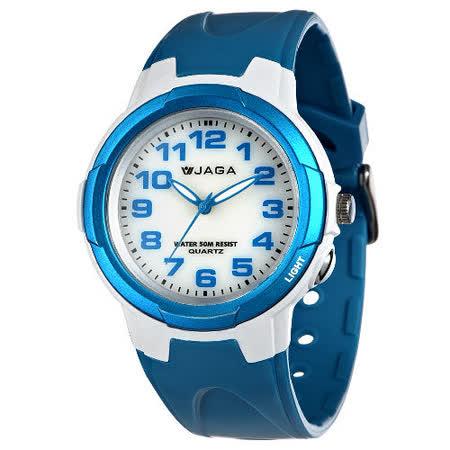 JAGA 捷卡 AQ68A-DE 色彩繽紛夜光防水指針錶-白藍/47mm