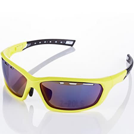【視鼎Z-POLS三代頂級運動款】新一代TR太空纖維彈性輕量材質 弧形包覆設計 頂級眼鏡!(亮螢光黃))