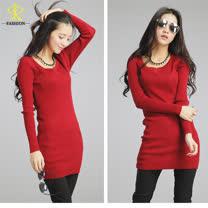 玄太-長版柔感修身針織衫(紅/灰)