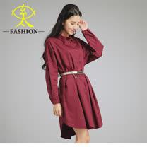 玄太-連身袖寬版修身洋裝(紅)