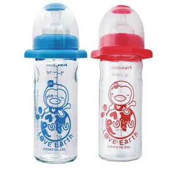 PUKU藍色企鵝 防翻轉寬口玻璃奶瓶 230ml(藍色/粉紅)