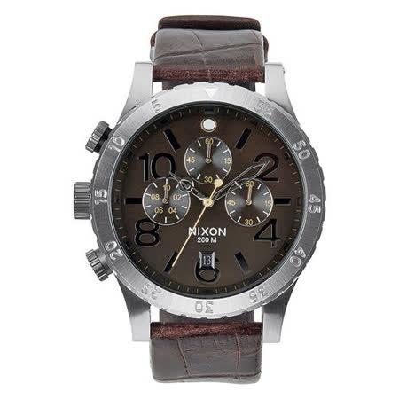 NIXON The 48-20 CHRONO 潮流重擊運動腕錶-銀框x咖啡色皮帶