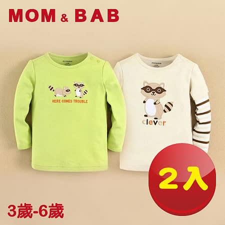 (購物車)【MOM AND BAB】頑皮小狸貓純棉長袖上衣(兩件組)(3T-6T)