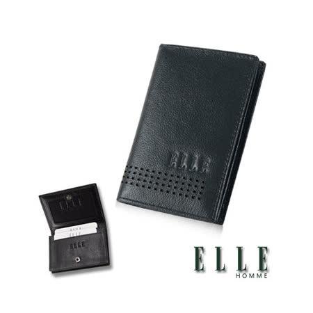 ELLE HOMME 法式精品名片夾嚴選荔枝點刻紋柔軟頭層皮、可置物名片多層格設計-墨綠EL81846-39