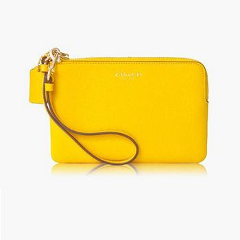 COACH 高質感皮革小款手拿包 (黃色)LICKG-BB97