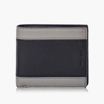 COACH Men s 高級皮革對摺式短夾 (黑灰色)SLBK-TX05