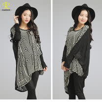 玄太-兩件式幾何拼接彈性連身袖長版上衣(黑)