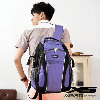 X-SPORTS 後背包 可放13吋筆電 垂直線條拼色後背包包 紫 (CG20508-3Q)