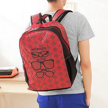 1818 後背包 創意圖樣系列 A4 韓版學院風眼鏡後背書包 男女 紅 (1859495-R)