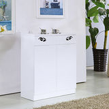 【幸福屋】葉麗兒2.7尺白色二門二抽鞋櫃