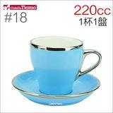 Tiamo 18號鬱金香大卡布杯盤組(白金) 220cc (粉藍) HG0844BB