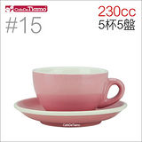 Tiamo 15號 咖啡杯盤組 (粉紅色) 230cc 五杯五盤 (HG0758PK)