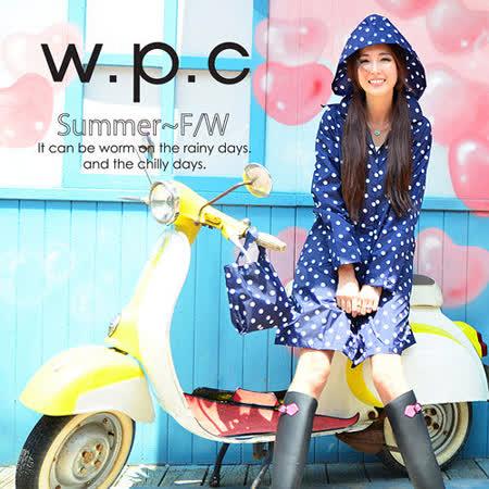 日本狂賣【w.p.c.】顯瘦修長款。時尚雨衣/風衣(R1005)-深藍點點