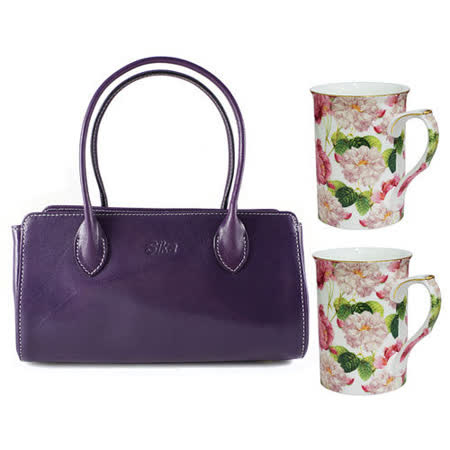 Sika義大利時尚真皮雙帶小提包M6037-07/木槿紫+【花榭舞影】2入骨瓷花茶杯組GW-705