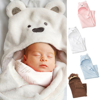 珊瑚絨動物造型連帽毛毯嬰兒包被(三色)