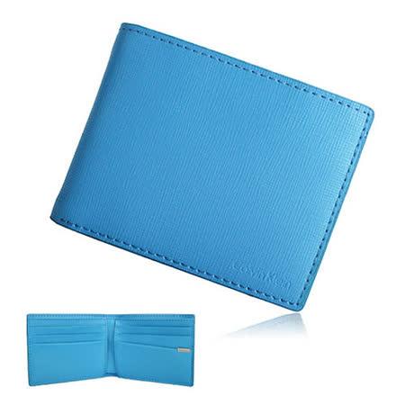 Calvin Klein 防刮十字紋皮革壓紋LOGO短皮夾鑰匙圈禮盒(藍色)