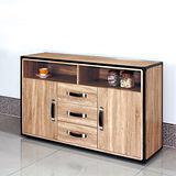 【幸福屋】溫莎蒂4.3尺橡木紋三抽餐櫃/收納櫃