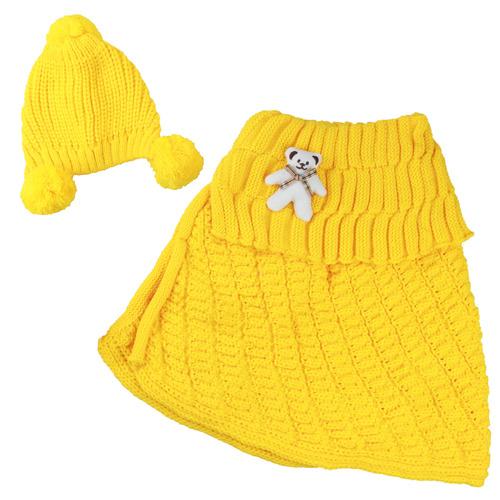 【Shangxuan】秋冬小熊配飾翻領毛線圍巾披肩+斗篷圍巾(三色)
