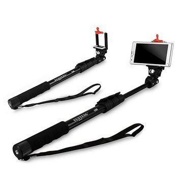 C188 數位相機/手機兩用 四節易攜式360度伸縮自拍架(扳壓關節)-黑色 ..