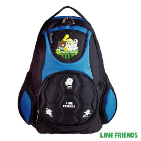 【LINE FRIENDS】足球造型硬殼護脊書背包(藍)