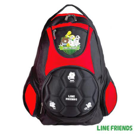 【LINE FRIENDS】足球造型硬殼護脊書背包(紅)