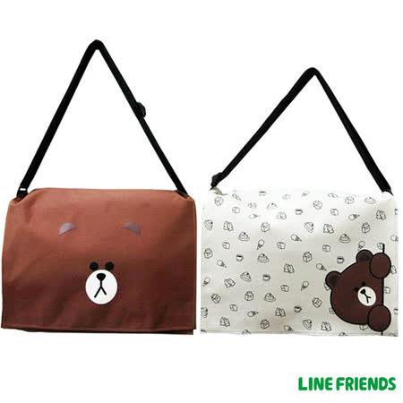 【LINE FRIENDS】MIT 無辜熊大側背包(大-咖/米)