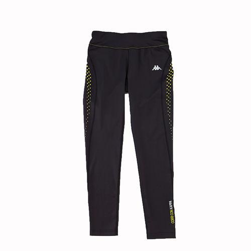 KAPPA義大利舒適 女吸溼排汗針織慢跑緊身褲 合身尺寸 1件~黑~岩草綠