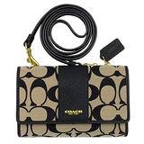 COACH 黃卡黑色C Logo真皮飾邊方型中夾斜背手機袋