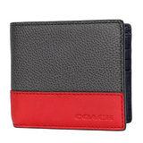 COACH 灰色荔枝紋拼接紅色素面全皮雙夾六卡中夾