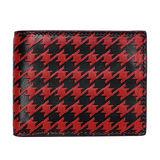 COACH 紅黑千鳥紋全皮三卡短夾