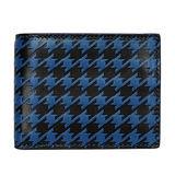 COACH 藍黑千鳥紋全皮三卡短夾