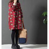 【Maya 名媛】 (M-2XL)春秋綿毛圈料 圓領寬鬆一件式連衣裙 Q版貓咪款-紅色