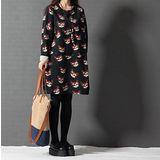 【Maya 名媛】 (M-2XL)春秋綿毛圈料 圓領寬鬆一件式連衣裙 Q版貓咪款-黑色