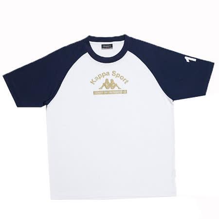 KAPPA義大利小朋友吸濕排汗速乾彩色圓領衫~丈青/白色
