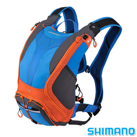 SHIMANO UNZEN 登山車水袋後背包15L 藍橘