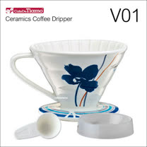 Tiamo V01陶瓷咖啡濾杯組-附量匙.滴水盤(藍色)HG5546B