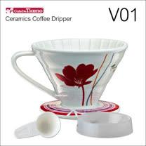 Tiamo V01陶瓷咖啡濾杯組-附量匙.滴水盤(紅色)HG5546R