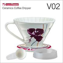 Tiamo V02陶瓷咖啡濾杯組-附量匙.滴水盤(紫色)HG5547P