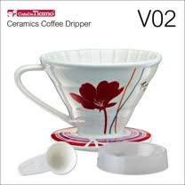 Tiamo V02陶瓷咖啡濾杯組-附量匙.滴水盤(紅色)HG5547R