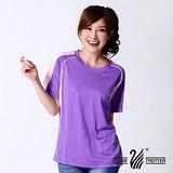 【遊遍天下】中性款100%MIT圓領吸濕排汗機能衫S079紫色