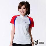 【遊遍天下】MIT台灣製女款抗UV涼爽吸濕排汗機能POLO衫S120灰/紅