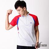 【遊遍天下】MIT台灣製男款抗UV涼爽吸濕排汗機能POLO衫S120灰/紅