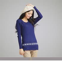 玄太-休閒舒適配色花紋針織衫(藍/橘紅)