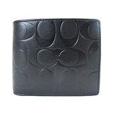 COACH浮雕LOGO六卡夾零錢袋全皮短夾(黑)
