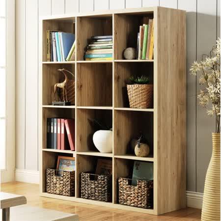 【Yomei】時尚設計十二格櫃/書櫃/置物櫃/收納櫃/隔間櫃(淺橡色)
