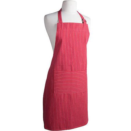 《NOW》平口單袋圍裙(條紋紅)